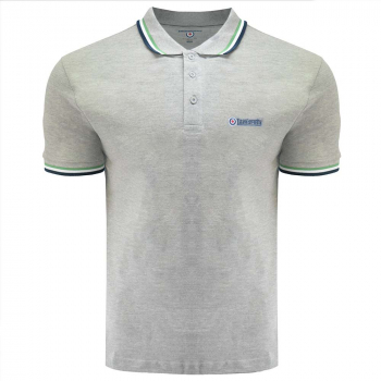 Triple Tipped Polo Grey Marl/Green/White/Navy