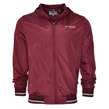 Lightweight Tipped Hooded Jkt Burgundy