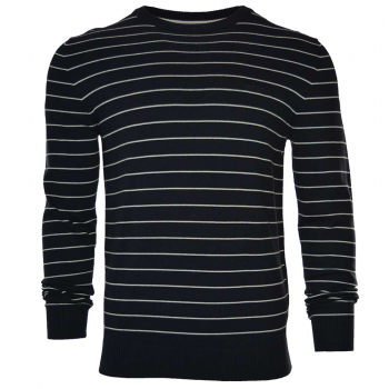Striped Knit Sweater Navy/Off White