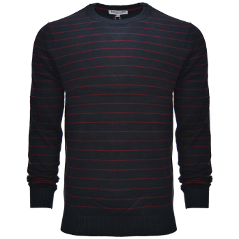 Striped Knit Sweater Navy/Maroon
